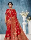 image of Weaving Work On Banarasi Silk Party Wear Saree In Red Color With Beautiful Blouse