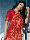 photo of Red Banarasi Silk Fabric Designer Saree With Weaving Work Designs And Enchanting Blouse