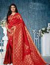 image of Red Banarasi Silk Fabric Designer Saree With Weaving Work Designs And Enchanting Blouse