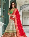 image of Beige Wedding Wear 3 Piece Lehenga In Jacquard Silk With Embroidery Work