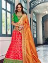image of Jacquard Silk Designer Bridal Lehenga With Embroidery Work On Red