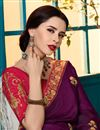 photo of Embroidered Border And Blouse With Georgette Silk Fabric Purple Function Wear Saree