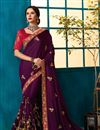 image of Embroidered Border And Blouse With Georgette Silk Fabric Purple Function Wear Saree
