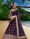 image of Georgette Fabric Designer Embroidered Anarkali Salwar Kameez In Violet