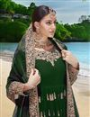 photo of Dark Green Party Wear Anarkali Salwar Suit In Georgette Fabric With Embroidery Work