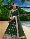 image of Dark Green Party Wear Anarkali Salwar Suit In Georgette Fabric With Embroidery Work