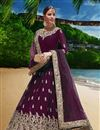 image of Georgette Fabric Purple Function Wear Embroidered Anarkali Suit