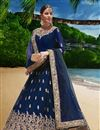 image of Occasion Wear Georgette Fabric Embroidered Anarkali Salwar Kameez In Blue