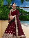 image of Embroidery Work On Georgette Fabric Maroon Wedding Wear Anarkali Salwar Suit