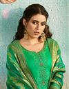 photo of Green Color Chanderi Fabric Festive Wear Patiala Salwar Kameez With Embroidery Work