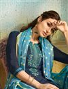 photo of Embroidery Designs On Navy Blue Color Party Wear Patiala Suit In Chanderi Fabric