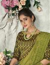 photo of Traditional Wear Satin Silk Elegant Embroidered Saree In Mehendi Green