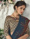photo of Elegant Satin Silk Traditional Wear Embroidered Navy Blue Saree