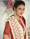 photo of Cream Elegant Satin Silk Fabric Traditional Wear Embroidered Saree