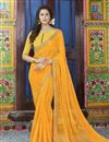 image of Elegant Mustard Casual Wear Georgette Printed Saree