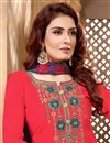 photo of Cotton Fabric Fancy Festive Wear Red Embroidered Patiala Dress