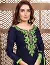 photo of Fancy Navy Blue Cotton Fabric Festive Wear Embroidered Patiala Suit