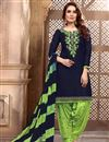 image of Fancy Navy Blue Cotton Fabric Festive Wear Embroidered Patiala Suit