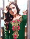 photo of Dark Green Fancy Festive Wear Embroidered Patiala Dress In Cotton Fabric