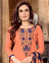 photo of Peach Fancy Festive Wear Cotton Fabric Embroidered Patiala Dress