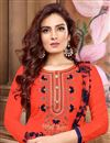 photo of Orange Cotton Fabric Fancy Embroidered Festive Wear Patiala Suit