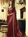 image of Eid Special Esha Gupta Maroon Party Style Georgette Saree With Embroidery Work