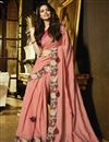 image of Eid Special Esha Gupta Georgette Party Style Pink Saree With Embroidery Work