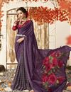 photo of Chic Purple Casual Wear Chanderi Silk Printed Saree
