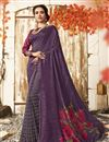 image of Chic Purple Casual Wear Chanderi Silk Printed Saree