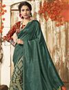 photo of Casual Wear Chic Chanderi Silk Printed Saree In Teal