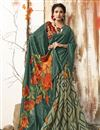 image of Casual Wear Chic Chanderi Silk Printed Saree In Teal