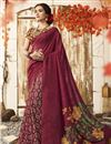 image of Chanderi Silk Maroon Chic Casual Wear Printed Saree