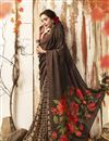 photo of Chanderi Silk Chic Casual Wear Brown Printed Saree