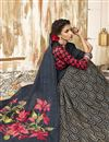 photo of Chic Chanderi Silk Casual Wear Navy Blue Printed Saree