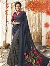 image of Chic Chanderi Silk Casual Wear Navy Blue Printed Saree