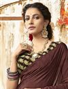 photo of Casual Wear Chic Brown Printed Saree In Chanderi Silk