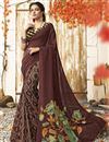 image of Casual Wear Chic Brown Printed Saree In Chanderi Silk