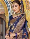 photo of Weaving Work On Art Silk Navy Blue Function Wear Saree With Enigmatic Blouse