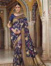 image of Weaving Work On Art Silk Navy Blue Function Wear Saree With Enigmatic Blouse