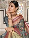 photo of Weaving Work On Art Silk Designer Saree In Grey With Attractive Blouse