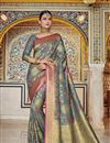 image of Sangeet Wear Art Silk Saree In Grey With Weaving Work And Alluring Blouse
