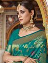 photo of Teal Party Wear Saree In Art Silk With Weaving Work And Designer Blouse