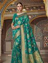 image of Teal Party Wear Saree In Art Silk With Weaving Work And Designer Blouse