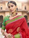 photo of Red Art Silk Fabric Puja Wear Fancy Weaving Work Saree