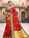 image of Red Art Silk Fabric Puja Wear Fancy Weaving Work Saree