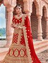 image of Embroidered Velvet Fabric Designer 3 Piece Lehenga In Red