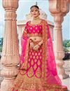 image of Pink Party Wear Lehenga Choli In Silk Fabric With Embroidery Work
