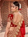 photo of Embroidered Velvet Fabric Red Festive Wear Lehenga With Embroidery Work
