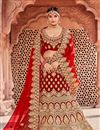 image of Embroidered Velvet Fabric Red Festive Wear Lehenga With Embroidery Work