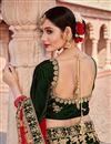 photo of Dark Green Velvet Fabric Designer 3 Piece Lehenga Choli With Embroidery Designs